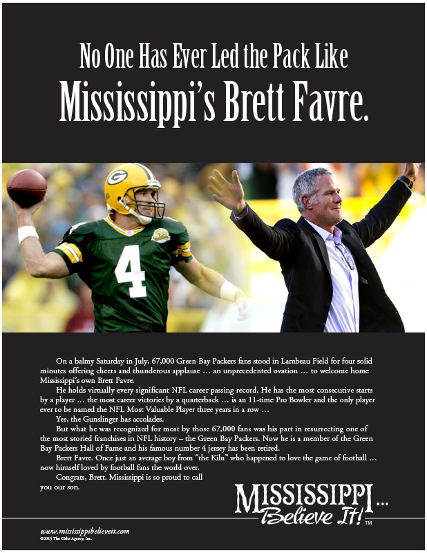 Mississippi, Believe It! – Brett Favre, Hall of Fame